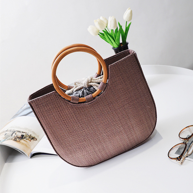 2017 High-end handbags straw bag solid wood bags women handbags