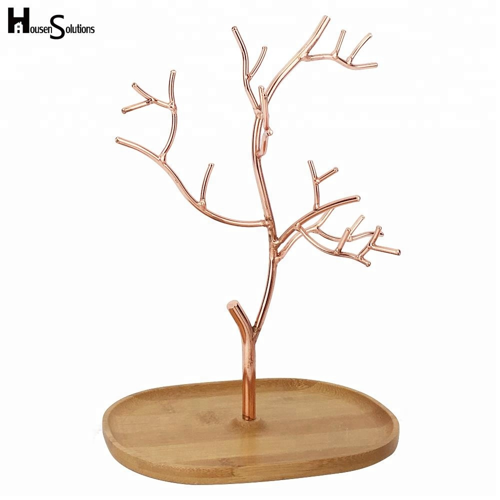 Bamboo Base Copper Necklace Holder Organizer Rack Tower Jewelry Tree Stand Display