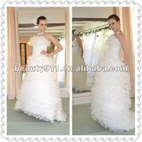 Ball Gown Pure White Organza Floor-Length A-line Princee Wedding Dress/Wedding Gown WDS19
