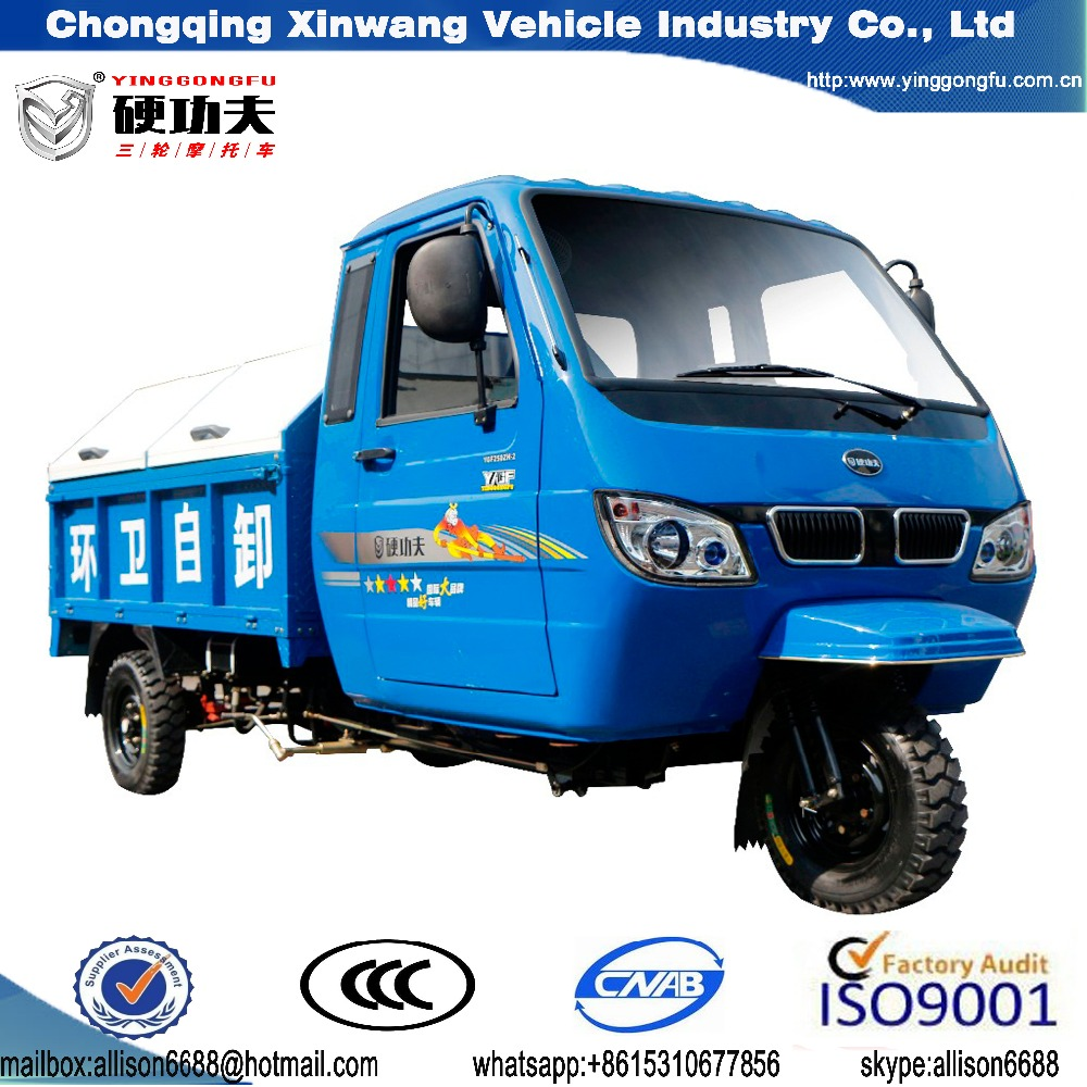 motorized gas powered three wheel sanitation tricycle with dump with closed cabin