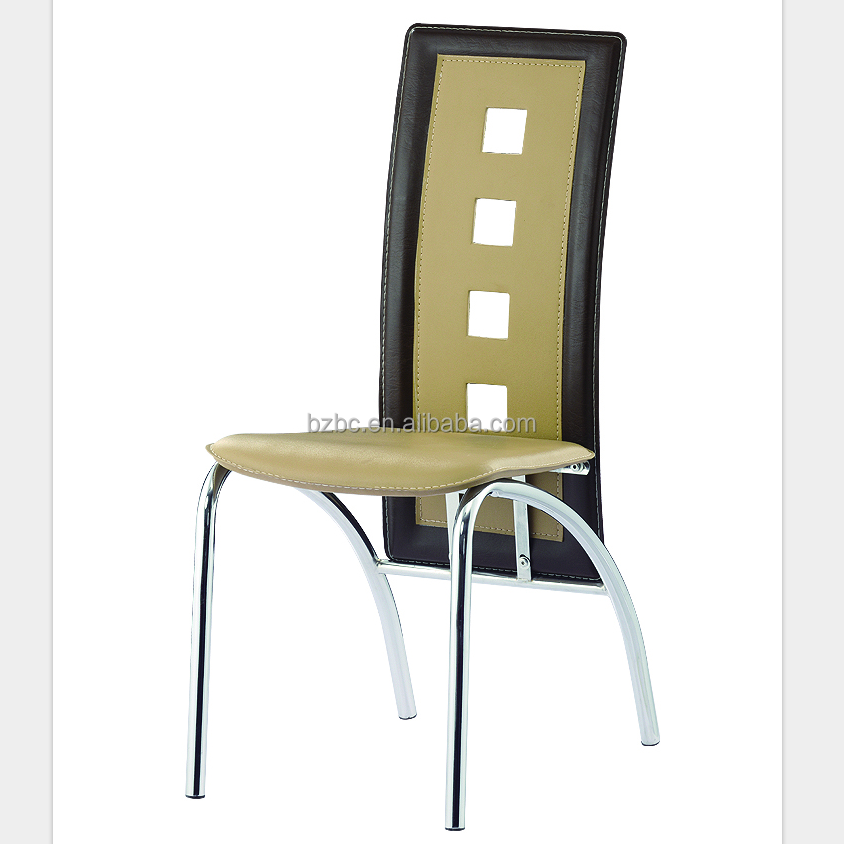2018Best sell China factory make PVC chair metal legs french high back dining room chairs
