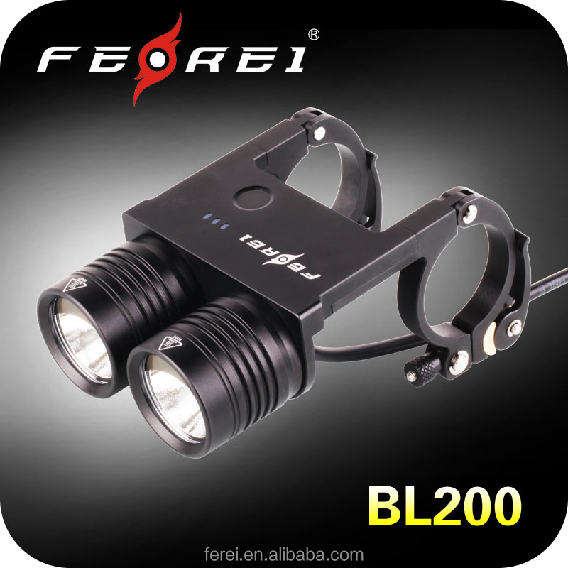2014 CE,RoSH bicycle front light high intenseity rechargeable utility led bike light cycling use led flashlight FEREI BL200