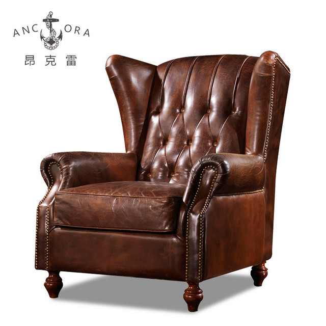 Foshan factory top quality leather chesterfield wingback chair