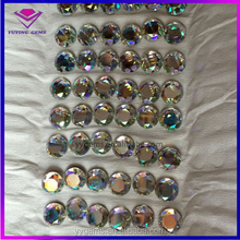 Cabochon Cut Round AB Color Glass Sparkly Top Crystal Sew on Dress