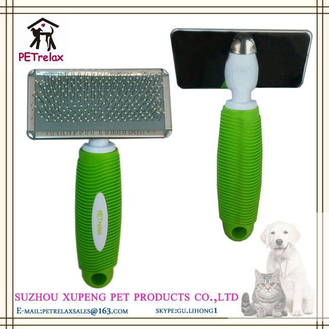 (M) PR80045-1 good material plastic silicone handle pet daily care use dog grooming brush