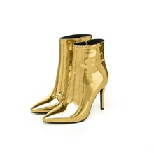 gold patent leather pointed toe high heel ankle boots