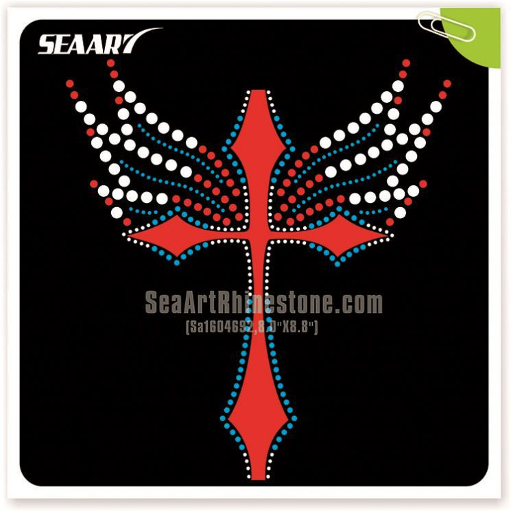 custom t-shirts hot fix rhinestone cross iron on transfer