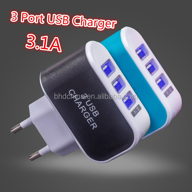 3 Ports 2A Micro USB EU Plug Charging Portable Mobile Phone Adapter Travel Wall Charger for iPhone 7 6s 6 5s 5 4 for Samsung