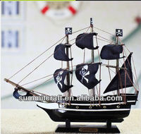 Black Bart's Royal Fortune 24cm Tall Model Pirate Ship - Black Sails - Wooden Tall Sailing Ship Replica Scale Ship Model Boat