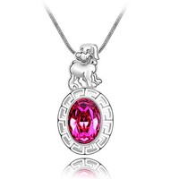 Chinese Stlye Dog of Chinese Zodiac Swarovski Element Chain Necklace