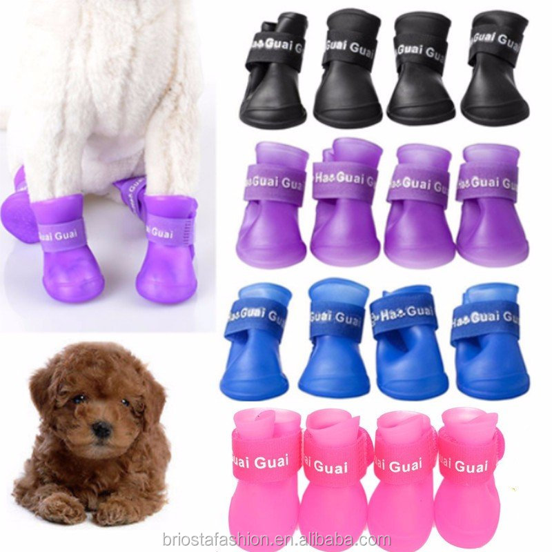 Cute Pet Waterproof Skidproof Dog Protective Rubber Rain Boots