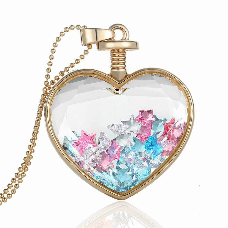 High quality gold plated heart dry flower glass necklace,dry flower locket pendant necklace TS1090