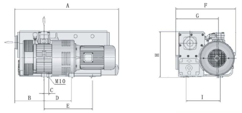 300m3/h Single Stage Rotary Vane Vacuum Pump