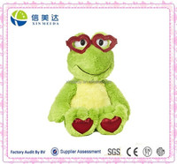Lovable Valentine' Day Gift Green Frog Doll with Heart Shaped Plastic Glasses
