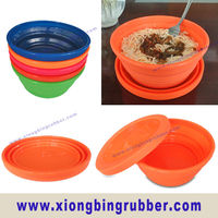 Round shape silicone microwave collapsible bowl with cover