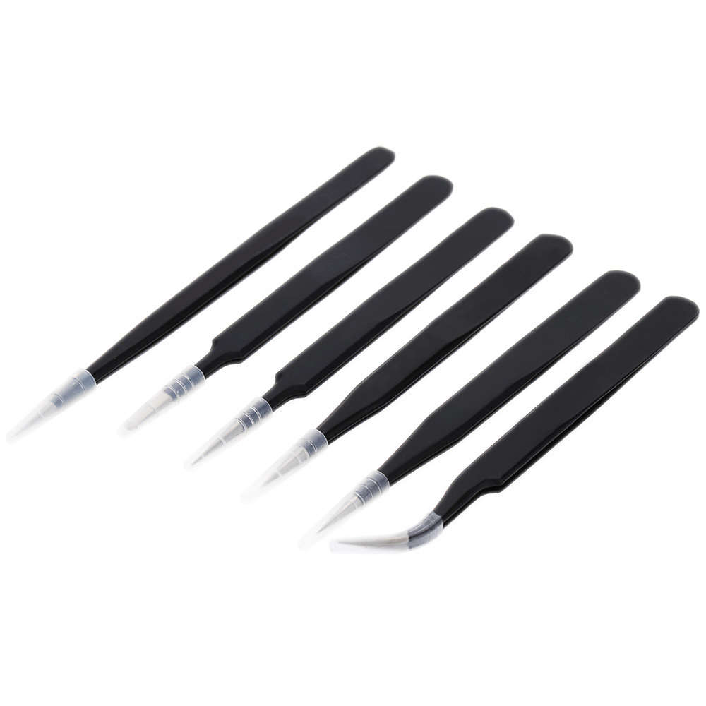 6PCS Precision Stainless Steel Tweezers Anti-static Tweezers Professional Repair Tools Pinpoint Clip Bend Flat Pointed Head