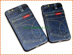 popular cowboy jeans style back cover cases for iphone6, relief jean soft case for iphone 6