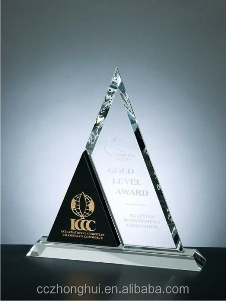 2016 New triangle embedded black wood plaque crystal award