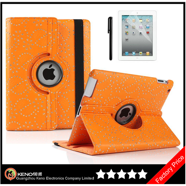 Keno for iPad 2/3/4 360 Degree Rotating Leather Case Cover Swivel Stand