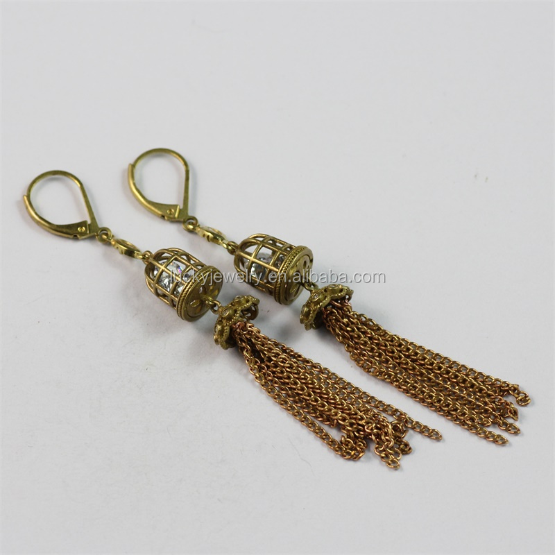 Fashion Long Tassel Fringe Drop Earrings Vintage Zircon Dangle Earrings for Women