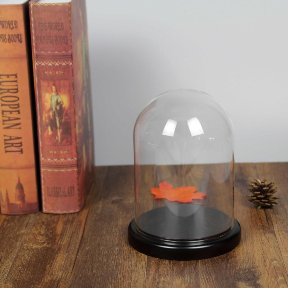 Small Glass Display Dome With Wood Base D10 x H25cm