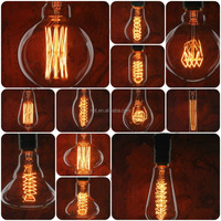 Hot sales A19/G95/ST64/T30/T45 Antique Vintage Edison Carbon Filament Light Bulb 25W 40W 60W 220V for home decor