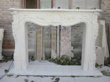 White Marble Flower Carved Fireplace