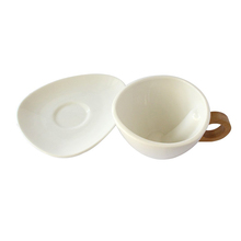 New Type White Ceramic Coffer Cup Bamboo Handle