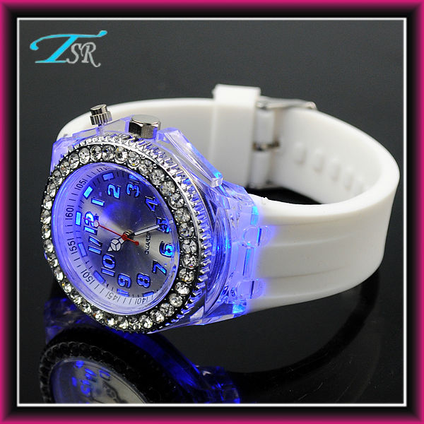 colorful led light up watches fashion 2014 custom your logo japan/china movert 3atm waterproof