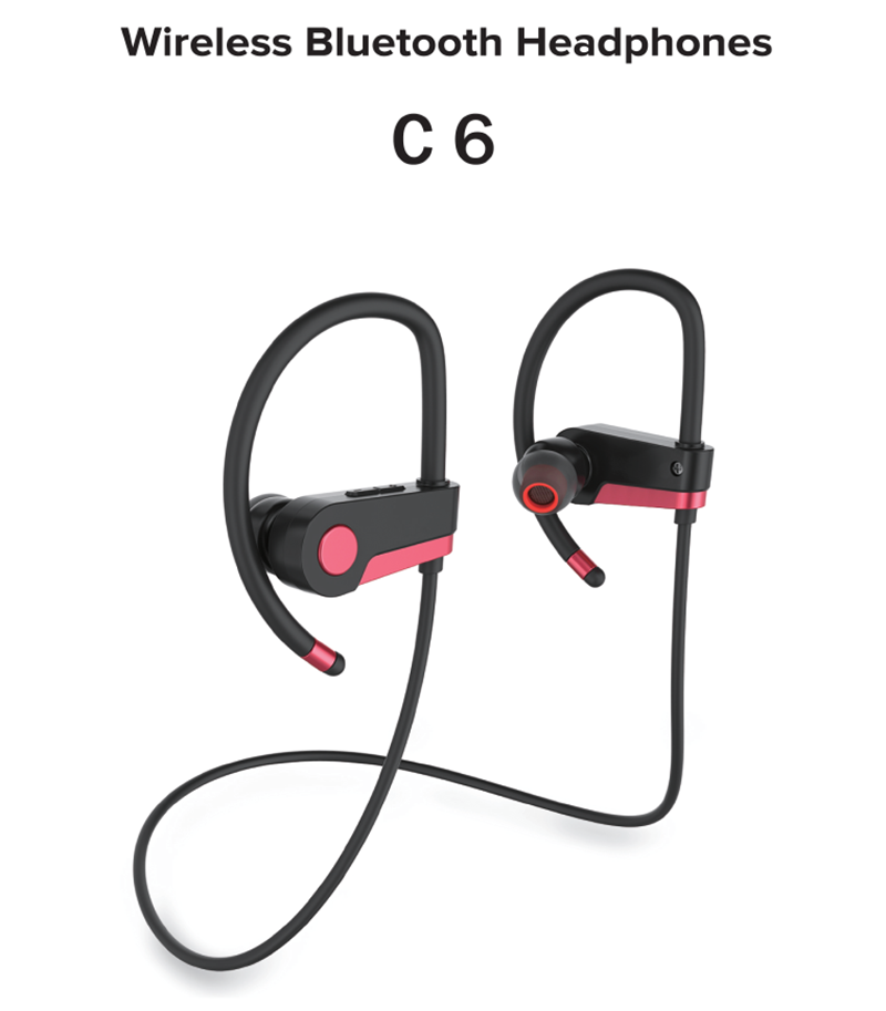 Most popular black/red color portable smart c6 sport headphones wireless bluetooth