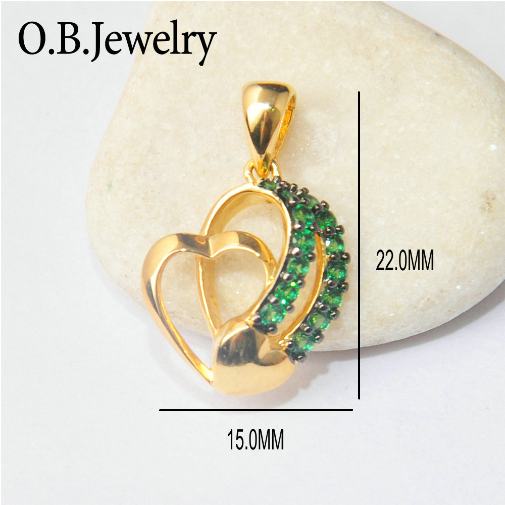 OB Jewelry-Heart Shape Green Spinel Stone Jewelry 18K Gold Pendant For Women