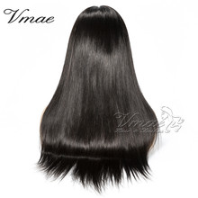 VMAE High Quality Cuticle Aligned Silky Natural Black Straight 130 Density Full Lace Raw Virgin Brazilian Human Hair Wigs