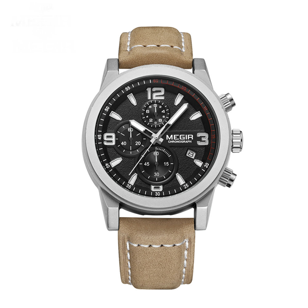 Megir 2026 Fashion Mens Chronograph Leather Strap Quartz Watches with Luminous Needles Casual Luxury Calendar Wristwatch