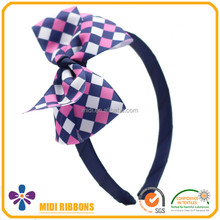 High quality plaid bow plastic headband for kids