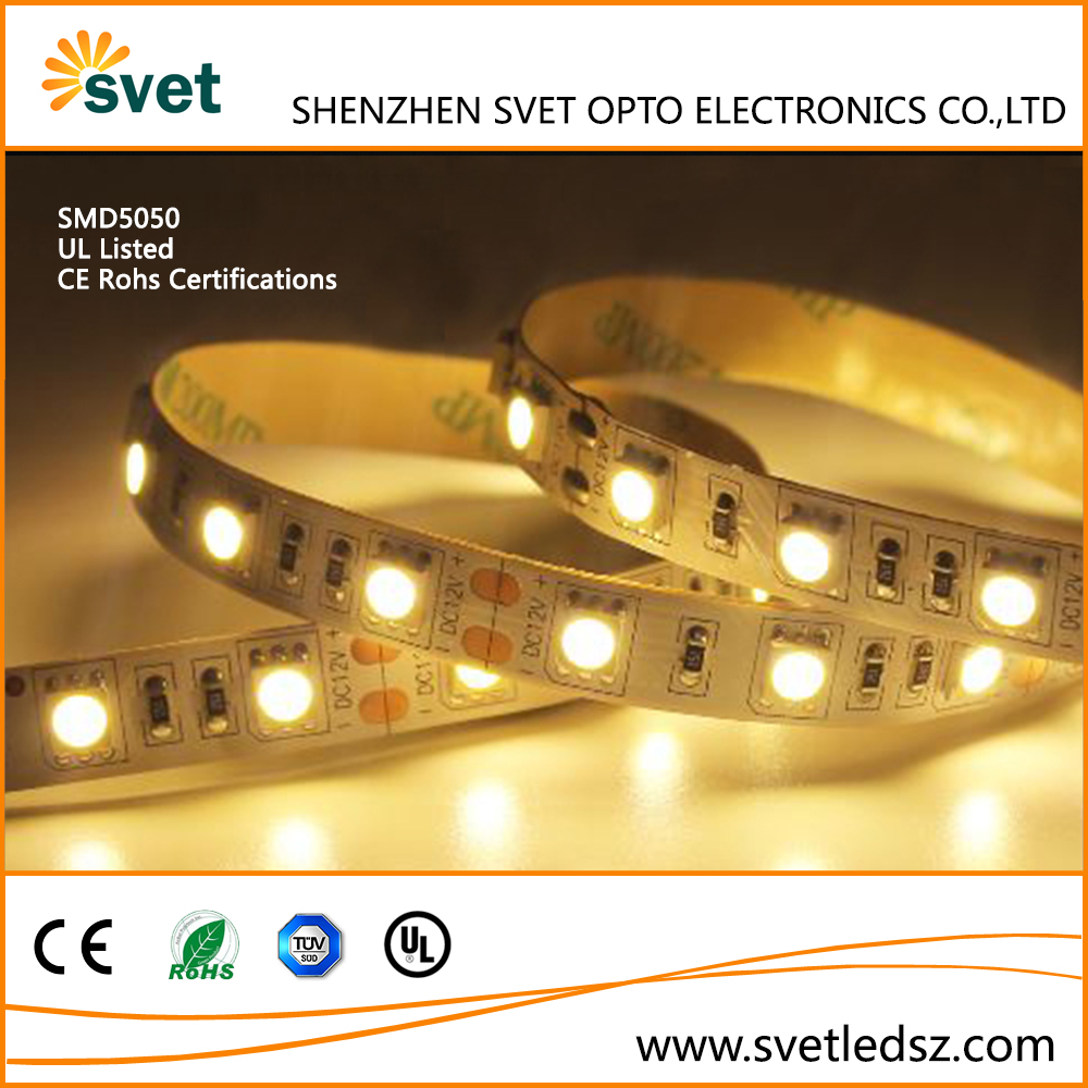 12 Volt Warm White 5050 60 LEDs/m Flexible LED Light Strip Waterproof IP67