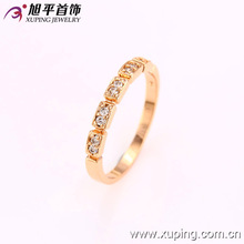 12629 Xuping fashion women jewelry simple design zircon channel set rose gold finger ring