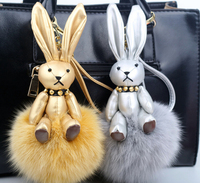 New arrival 2016 Top hot Luxry 100% Genuine Fox Fur Rabbit Pom Keyring factory retails or wholesale