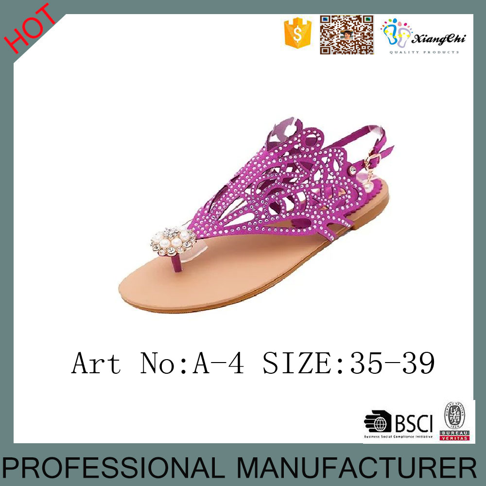 A-4 Latest Design Flipflop Sandals Crystal <strong>Flat</strong> Sandal
