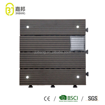 30X30cm waterproof interactive LED solar light WPC laminate deck flooring tiles with EMC compliance for exterior design