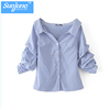 Wholesale Womens 100% Cotton Long sleeve Strip Oxford Blouse