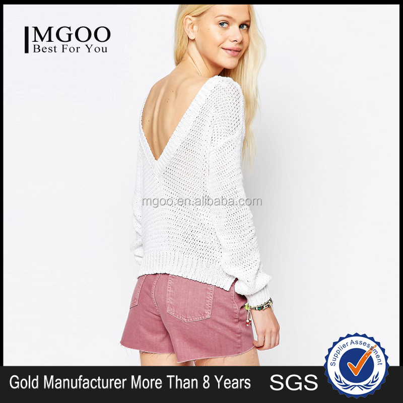 MGOO Chunky Sweater With V Back Design Spring-Summer Fashion Cashmere Sweaters Loose Cozy Oversized Sweater Open