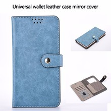 Universal smart phone wallet style leather case flip stand case with mirror back phone cover for iPhone for Samsung