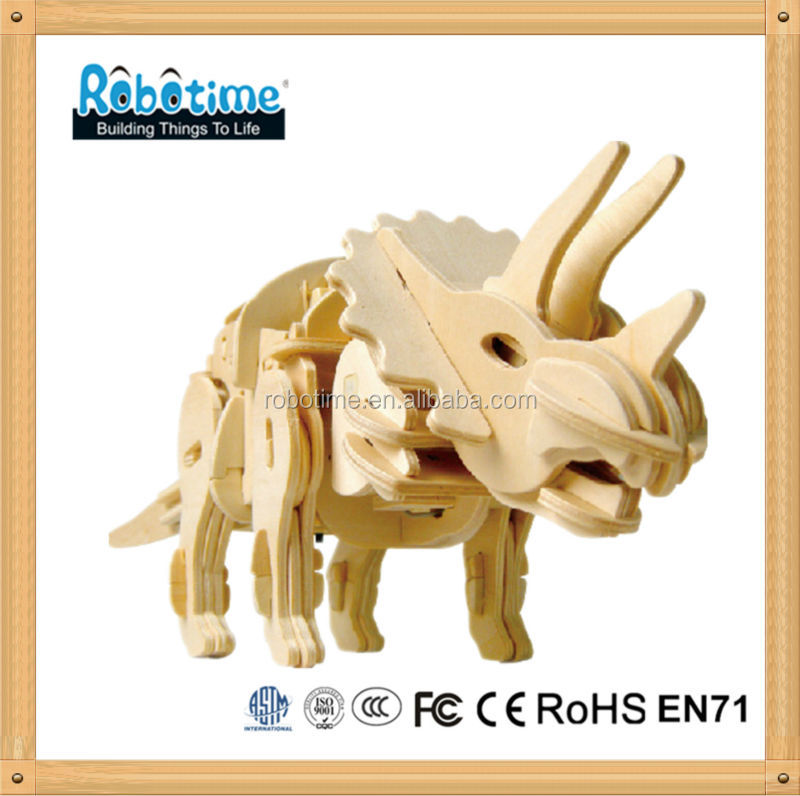 Robotime 3D Educational Wooden Puzzle Toy Dinosaur Model kits