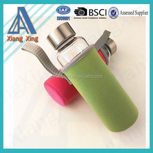New Fashion Sports Glass Drinking glass water bottle with neoprene sleeve