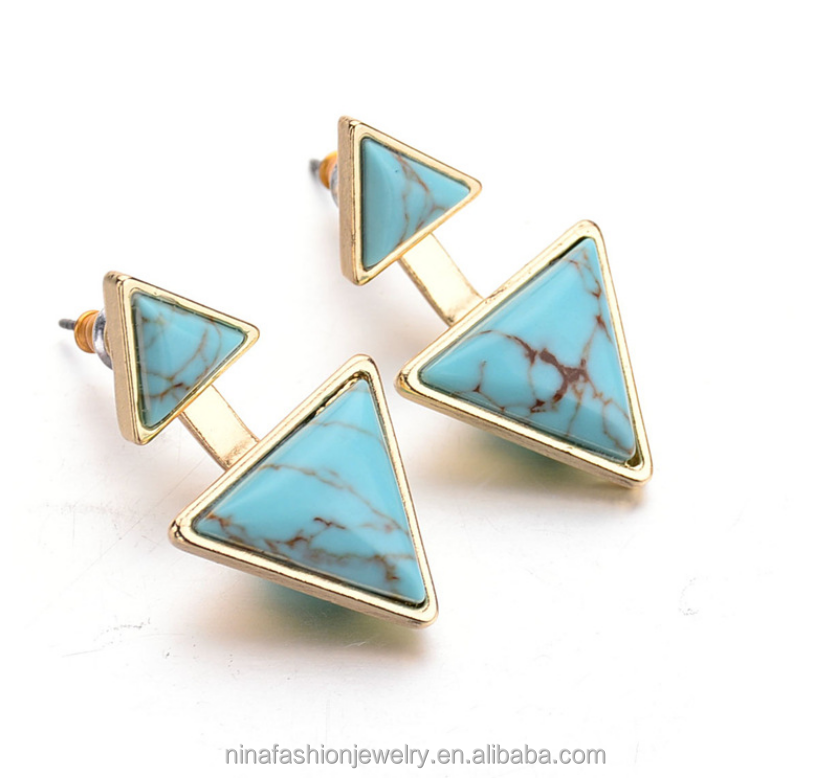 fashion jewelry natural stone turquoise earring jacket new 2016 latest gold earring designs for girls