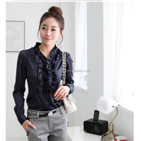 Z10911A Women's Wave Falbala Long Sleeve Blouse Shirts Lady's Fashion OL Overalls Work Shirts Blouses