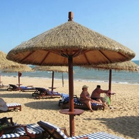 Synthetic palm leaf roof thatch beach umbrella