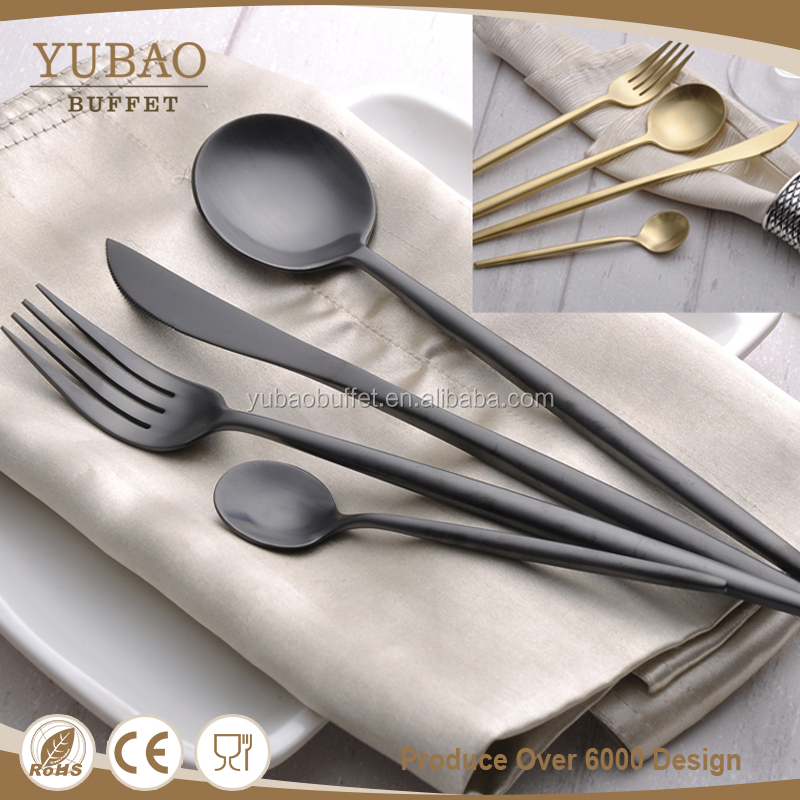 Restaurant hotel catering accessories 304 stainless steel matte black metal cutlery