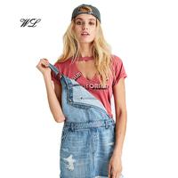 Wholesale Women Custom Top Casual Woman Distressed Choker T-Shirt China Supplier