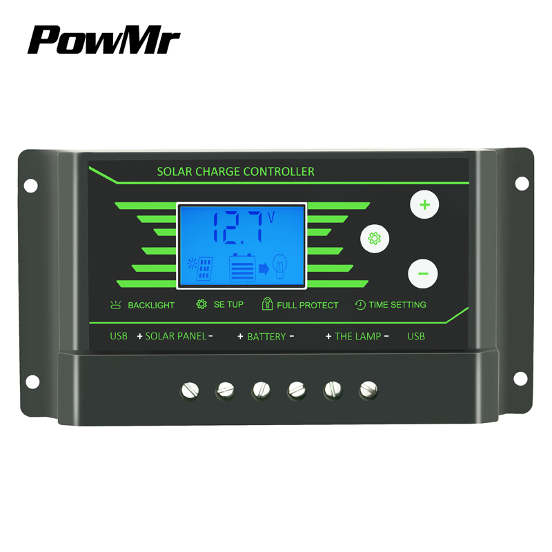 PowMr 10A PWM Solar Controller 12V 24V Solar Charge Controller with Dual USB 5V light+24H timer control for solar system